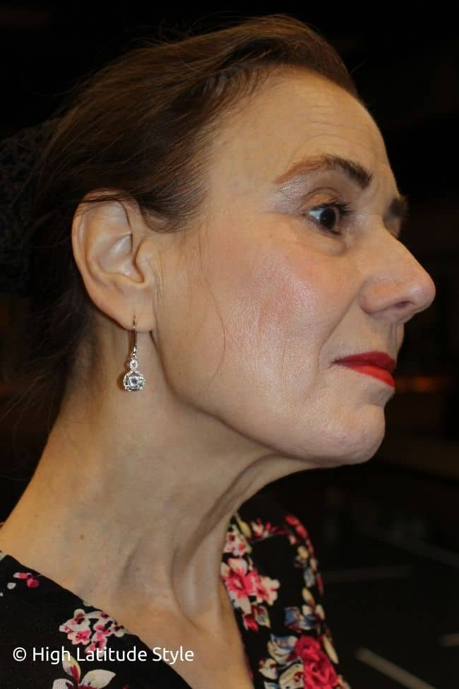 portrait showing the length of the drop earrings
