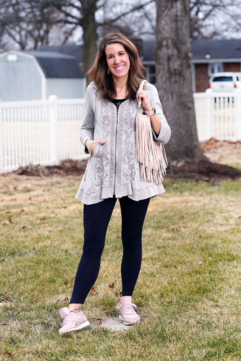 Carrie in new sweater, jacket, legging, sneakers