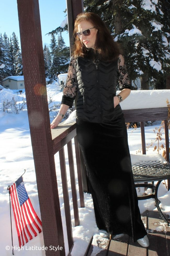 trendsetter in velvet sequin evening gown, puffer vest, silver sneakers, sunnies