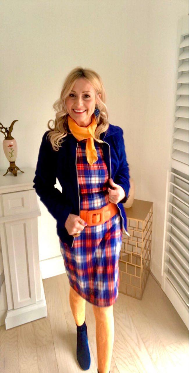 Lucy Bertoldi in plaid sheath athleisure jacket