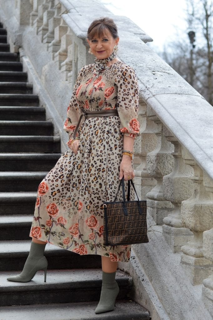 Martina Berg in floral paisley summer dress with booties and belt