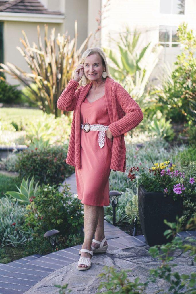 Darlene of Aquamarine Style in rose pink dress and cardigan