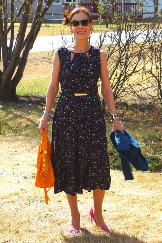 style book author in floral print bias cut summer dress
