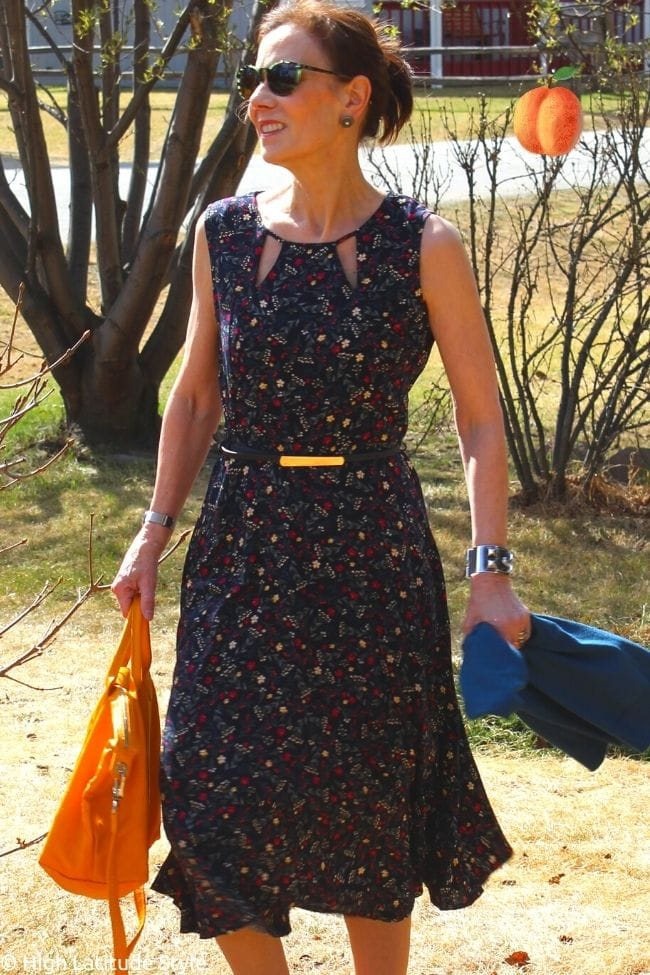 over 50 years old fashion blogger in Apricot Clothing small print midi dress