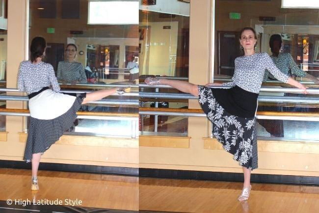 dancer in high-low hem skirt with flouncy hem