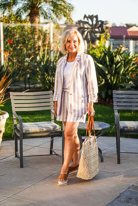 Darlene of Aquamarine Style in pink white striped suit