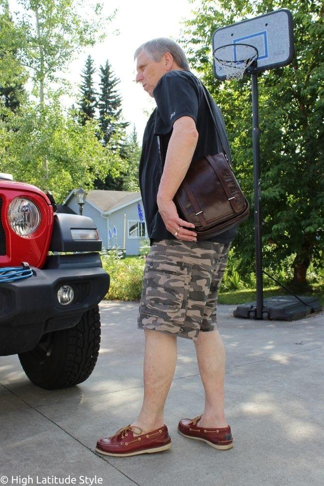 togo shoulder bag with polo shirt and Bermuda shorts