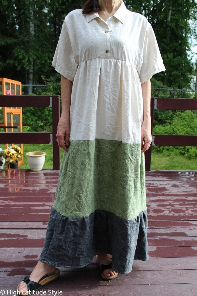 maxidress sewn from three shirts prior to dyeing