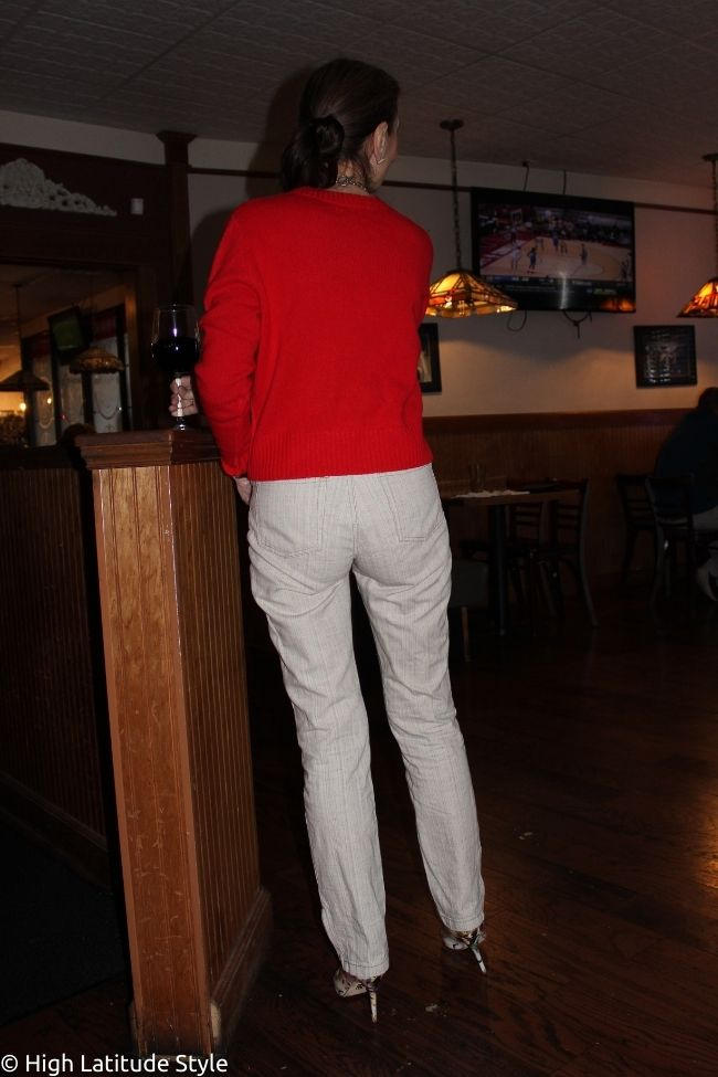 back view of Italic sweater with linen pants