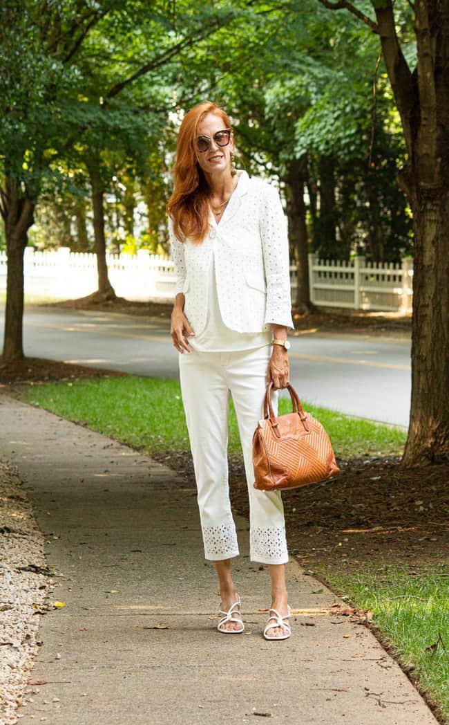 Jessica in all white romantic suit