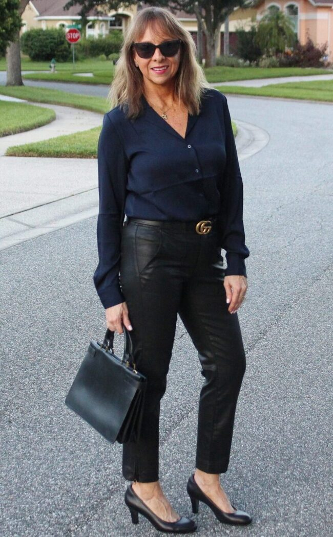 Kellyann in leather pants and silk blouse