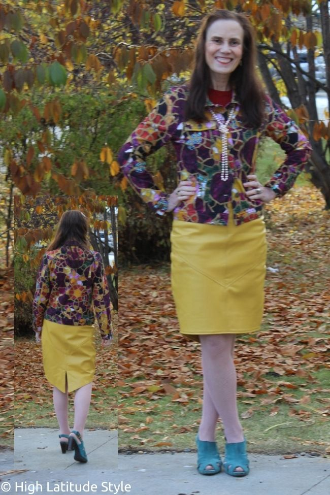 example of a color blocked outfit with crazy print jacket