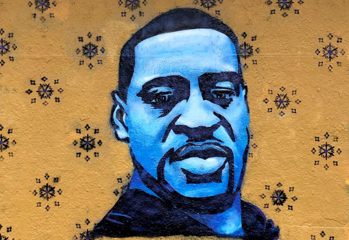 Mural of George Floyd, whose murder had an especially strong impact on Black HSPs.