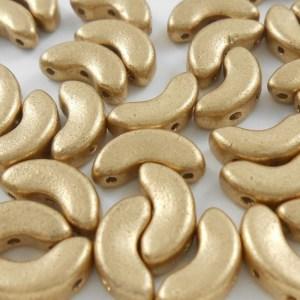 czech-arcos-par-puca-3-hole-beads-matte-metallic-gold