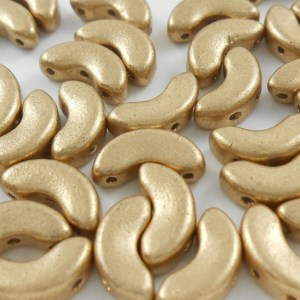 czech-arcos-par-puca-3-hole-beads-matte-metallic-gold