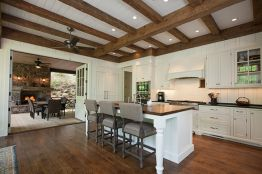 Custom Reclaimed wood Beams used in Kitchen by High Mountain Millworks - Franklin, NC