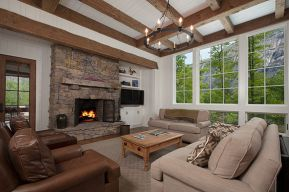 Custom reclaimed wood beams highlight this living room - High Mountain Millwork Company, Franklin, NC