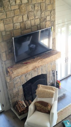 Custom Mantle of Reclaimed wood by High Mountain Millwork Company - Franklin, NC #528
