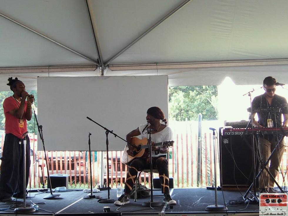 "The Kuf Knotz Band, from left, Kuf Knotz, Melvin ""Blaqmel"" McKnight and Adam Ahuja perform at the 54th annual Philadelphia Folk Festival."