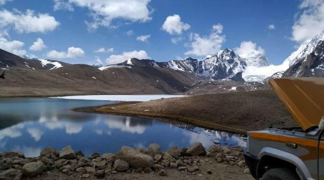 A surreal view of Gurudongmar Lake in the month of April
