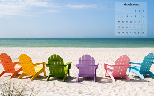 March 2012 calendar wallpapers beach chairs
