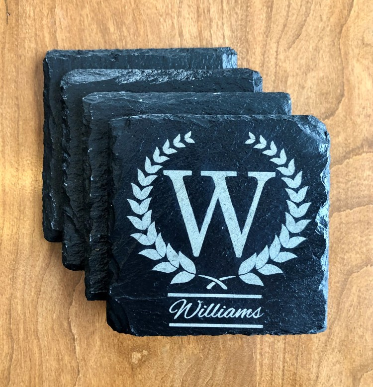 Set of 4 monogrammed slate coasters