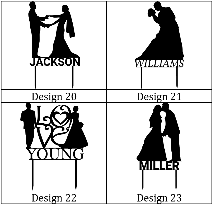 Customizable Wedding Cake Toppers Designs 20-23