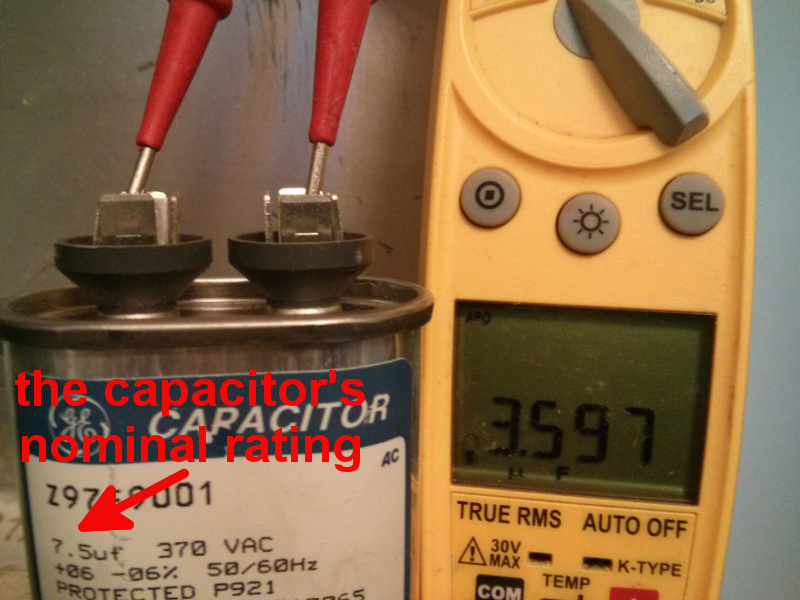 old capacitor reading