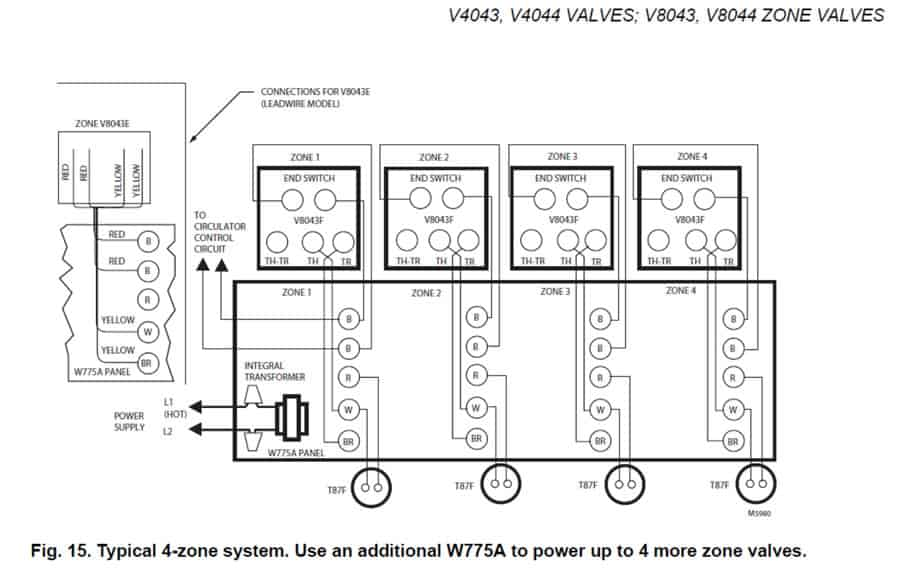 Hot Water Boiler Piping Zone Valves and Wiring Diagrams