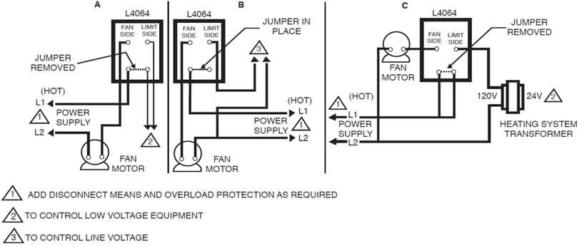 Wiring Diagram Furnace Temperature Fan Limit Switch Honeywell L4064