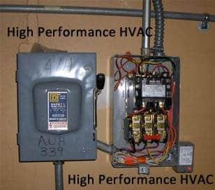 disconnect and electric motor starter rh highperformancehvac com electric motor contactor wiring diagram electric motor contactor wiring