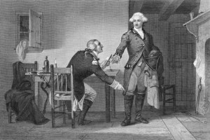 Original caption: Benedict Arnold.  Treason of Arnold.  He persuaded Andre to conceal the papers in his boot. --- Image by © Bettmann/CORBIS