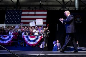 GRAND RAPIDS, MI - DECEMBER 9: President-elect Donald Trump waves to the crowd as he arrives onstage at the DeltaPlex Arena, December 9, 2016 in Grand Rapids, Michigan. President-elect Donald Trump is continuing his victory tour across the country. (Photo by Drew Angerer/Getty Images)