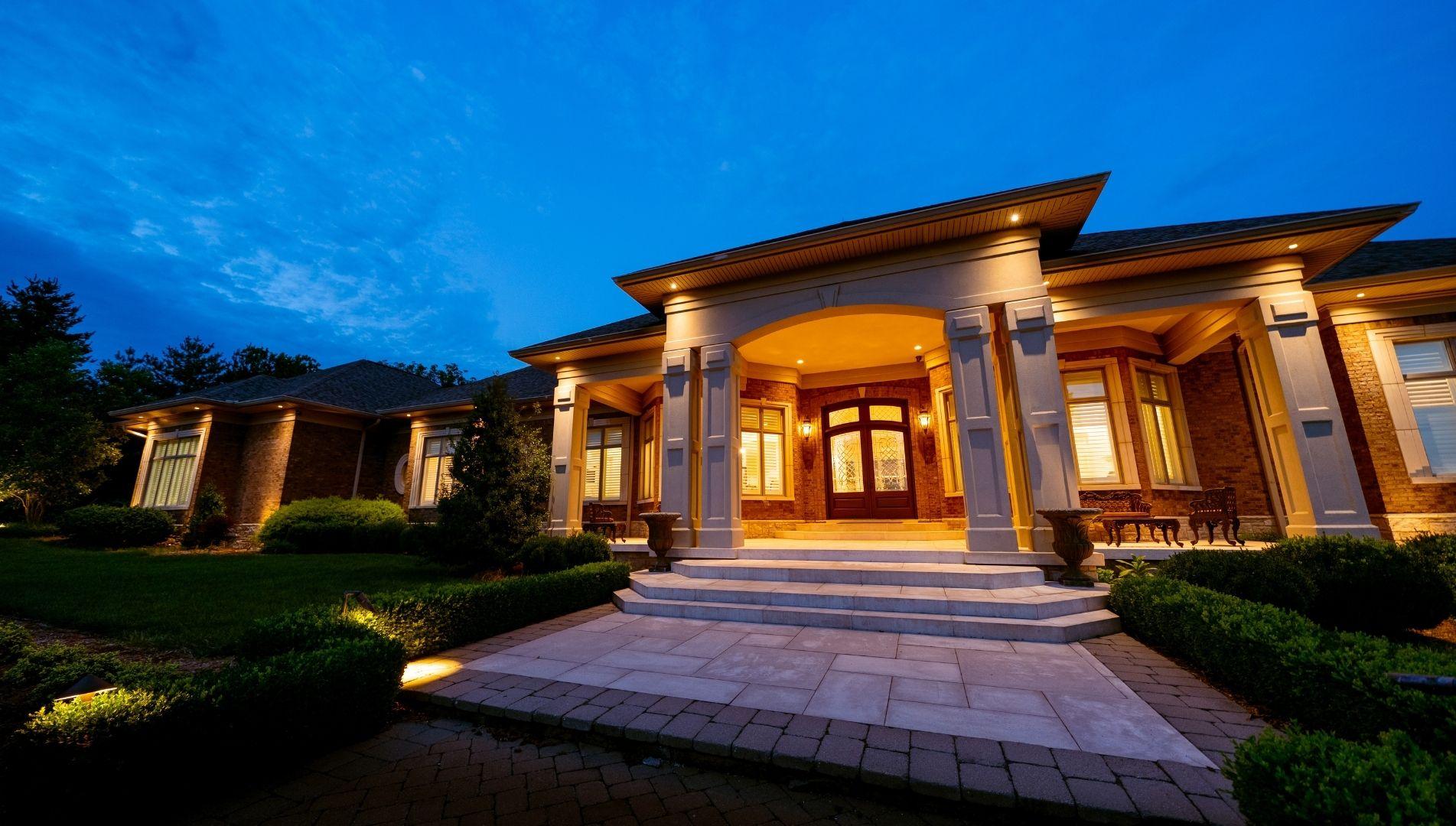 High Pointe Luxury Development House at Night