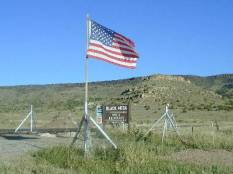 Flag Over the Mesa during the Highpointers 2002 Convention at Black Mesa, Oklahoma