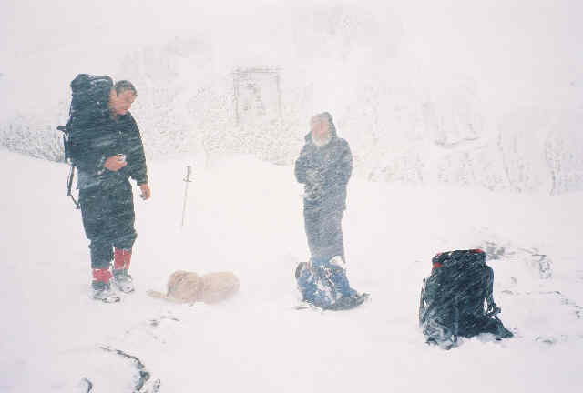 Roger Rowlett and Mario Locatelli prepare to descend after scattering Jack's ashes. Zephyr huddles against the snow.
