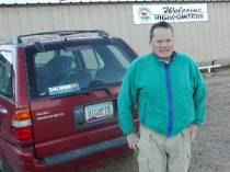 Ken Akerman with Arizona Highpointer License at Black Mesa 2002 Highpointers Convention