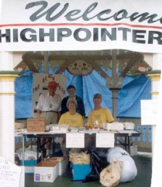 """The Welcome Gazebo"" in downtown Oakland, Maryland. These folks greeted the visitors all week. Seated are Joe and Mary Howard from Maryland. Standing are Bill and Lee Strickland from Oklahoma."