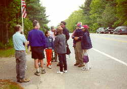 """Open access date for Columbus Day, 10-19-99: visitors walking back from """"the rock"""""""