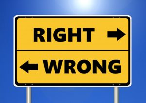 right vs wrong sign