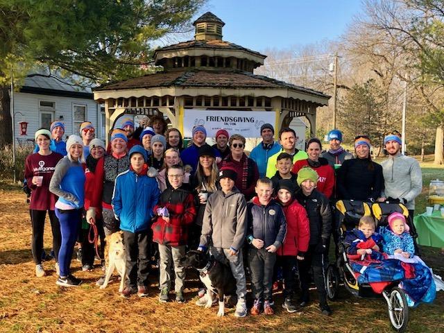 """""""Friendsgiving"""" runners and walkers in Nisbet Park"""