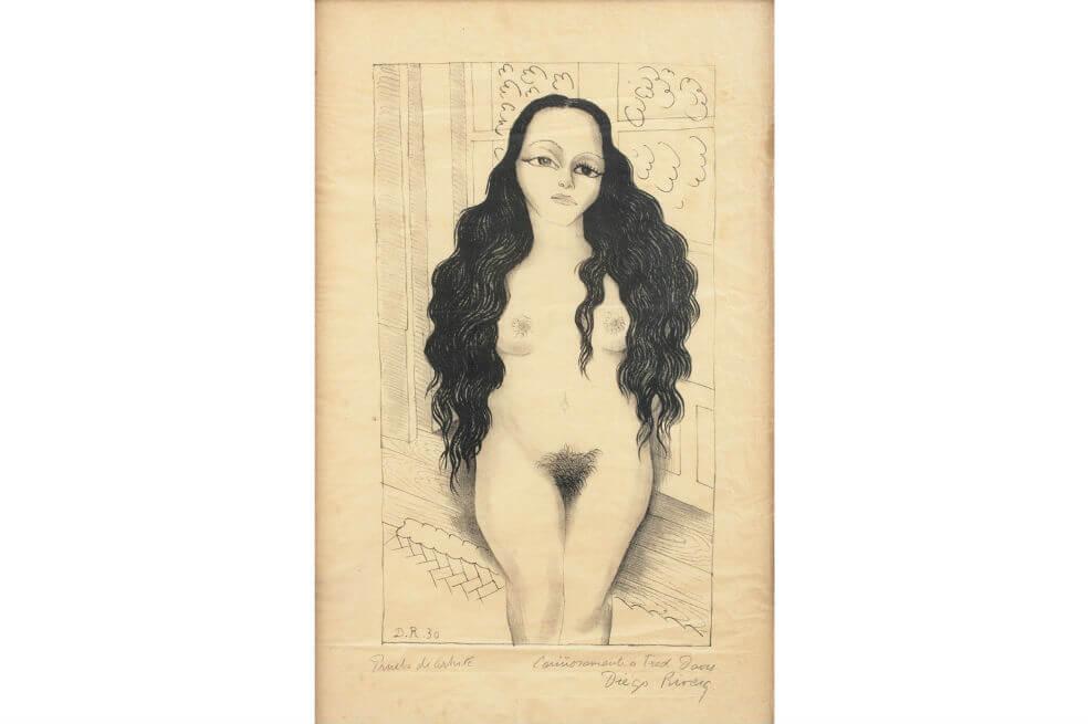 Subastarán una litografía de Diego Rivera con un desnudo de Dolores Olmedo