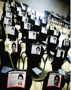 Each chair represents one of the students missing from the incident.