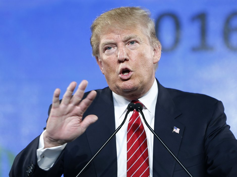 "FILE - In this Saturday, July 11, 2015, file photo, Republican presidential candidate Donald Trump speaks at FreedomFest in Las Vegas. Retired ""Late Show"" host David Letterman appeared with comedians Martin Short and Steve Martin at their live comedy show on Friday, July 10, 2015, in San Antonio, where Letterman read ""Interesting facts about Donald Trump."" (AP Photo/John Locher, File)"