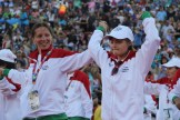 A Bulgarian athlete reaches up for Los Angeles, overwhelmed with happiness during the Special Olympics World Games Opening Ceremony on Saturday.