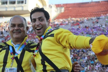 Two members from Team Iran pose happily for the camera during the Special Olympics World Games Opening Ceremony on Saturday.
