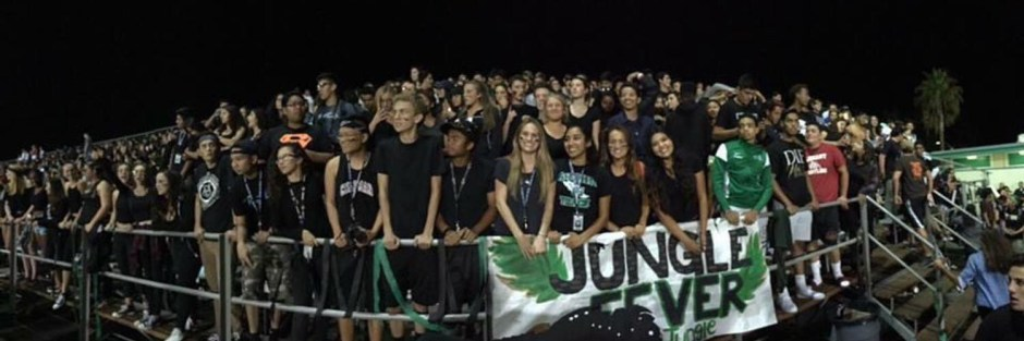 "Hundreds of students pile into the bleachers on Friday nights to support their football team and show off their ""Jungle Fever."""