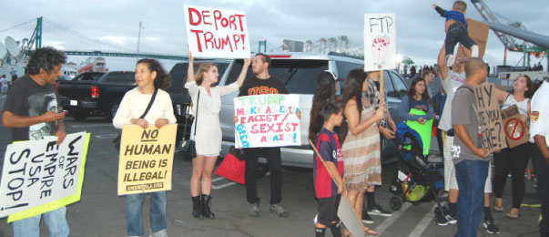 San Pedro residents protest Donald Trump's appearance on USS Iowa