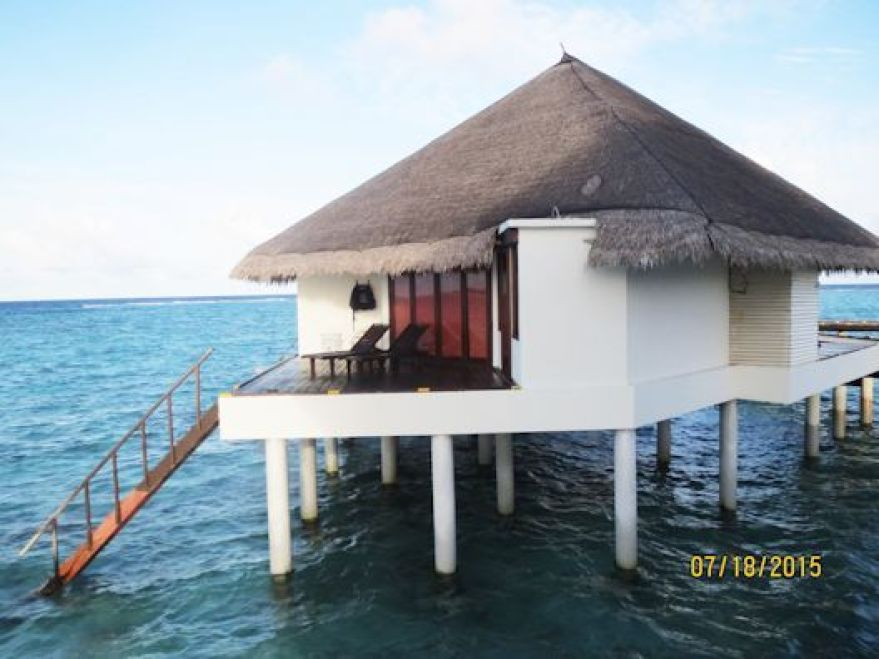 One of the water bungalows in the Maldives