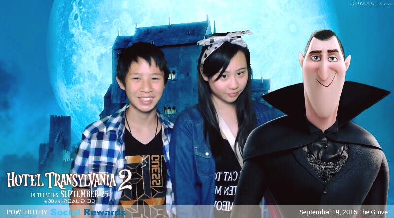 Reporter Cassandra Hsiao and her brother with Dracula. Courtesy of SONY.